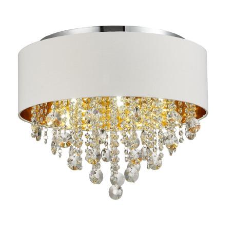 Потолочная люстра ST Luce Lacchia SL1350.502.06, 6xE14x40W, хром, белый, прозрачный, металл, текстиль, хрусталь