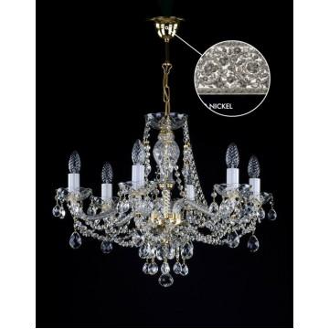 Подвесная люстра Artglass MANUELA VI. NICKEL CE, 6xE14x40W, белый, никель, прозрачный, стекло