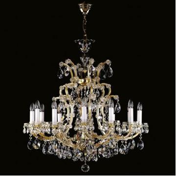 Подвесная люстра Artglass MARIA TEREZIA 12 VACHTLE CE, 12xE14x40W +  1xE14x60W, золото с прозрачным и белым, прозрачный с золотом и белым, прозрачный, стекло, хрусталь Artglass Crystal Exclusive