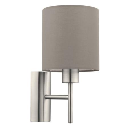 Бра Eglo Pasteri 94925, 1xE27x60W, никель, серый, металл, текстиль