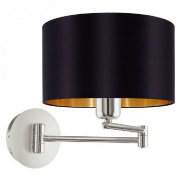 Бра Eglo Maserlo 95054, 1xE27x60W, никель, черный, металл, текстиль