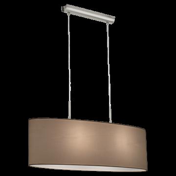 Подвесной светильник Eglo Pasteri 31579, 2xE27x60W, никель, белый, металл, текстиль
