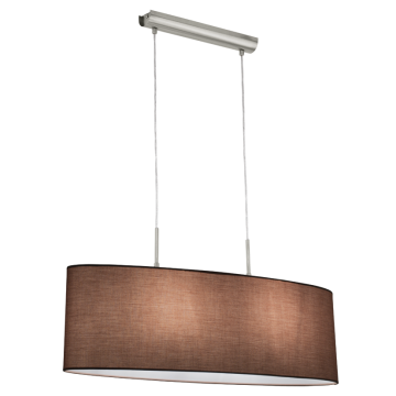 Подвесной светильник Eglo Pasteri 31581, 2xE27x60W, никель, серый, металл, текстиль