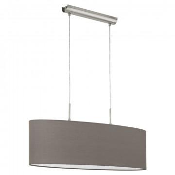 Подвесной светильник Eglo Pasteri 31583, 2xE27x60W, никель, серый, металл, текстиль