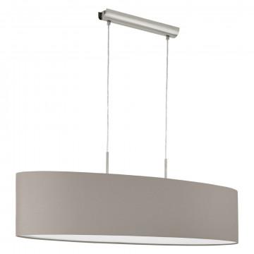 Подвесной светильник Eglo Pasteri 31585, 2xE27x60W, никель, серый, металл, текстиль