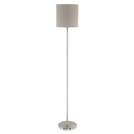 Торшер Eglo Pasteri 95167, 1xE27x60W, никель, серый, металл, текстиль