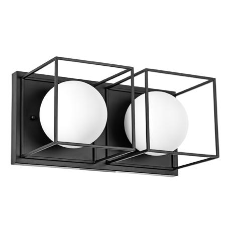 Настенный светильник Lightstar Gabbia 732627, 2xE14x40W, черный, черно-белый, металл, металл со стеклом