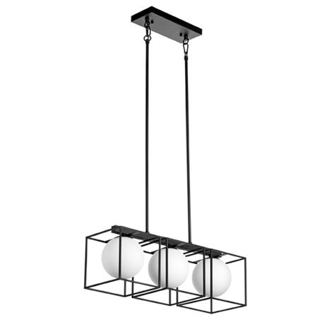 Потолочный светильник на составной штанге Lightstar Gabbia 732137, 3xE14x40W, черный, черно-белый, металл, металл со стеклом