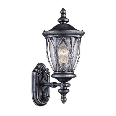 Настенный фонарь Maytoni Rua Augusta S103-47-01-B, IP44, 1xE27x60W, черненое серебро, прозрачный, металл, металл со стеклом