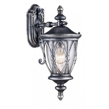Настенный фонарь Maytoni Rua Augusta S103-48-01-B, IP44, 1xE27x60W, черненое серебро, прозрачный, металл, металл со стеклом