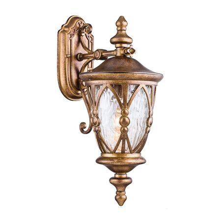 Настенный фонарь Maytoni Rua Augusta S103-48-01-R, IP44, 1xE27x60W, матовое золото, прозрачный, металл, стекло