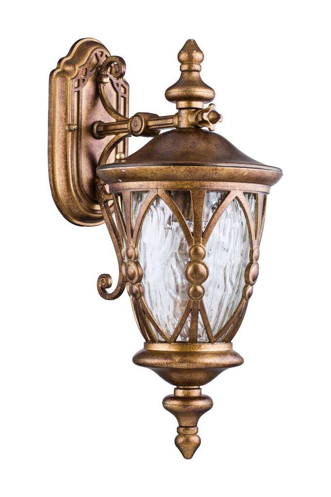 Настенный фонарь Maytoni Rua Augusta S103-48-01-R, IP44, 1xE27x60W, матовое золото, прозрачный, металл, металл со стеклом, стекло с металлом - фото 2