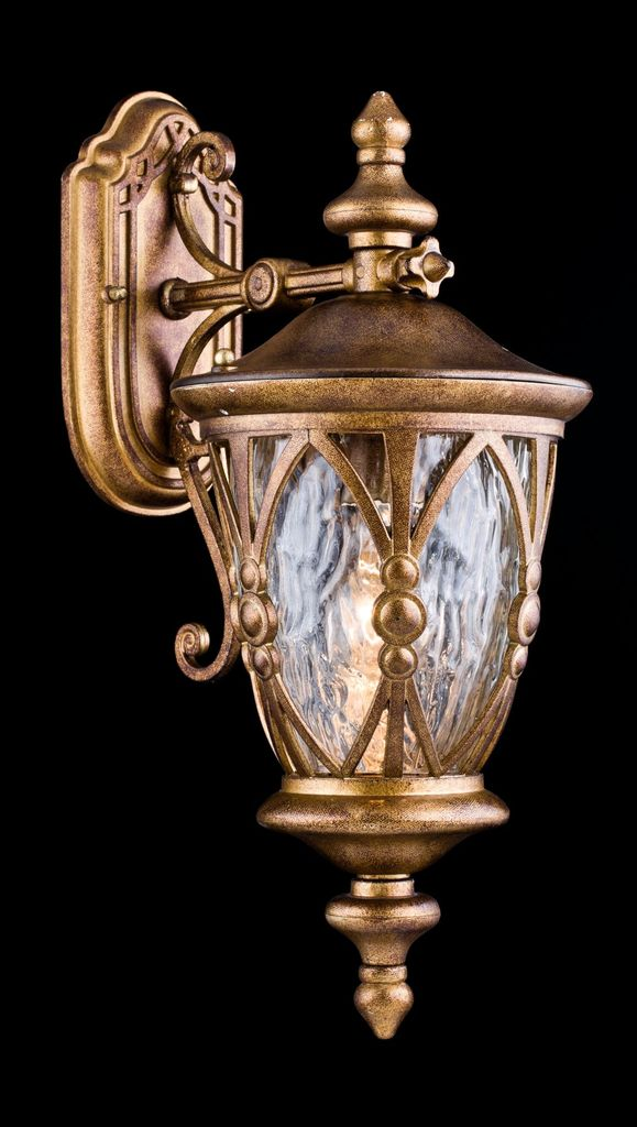 Настенный фонарь Maytoni Rua Augusta S103-48-01-R, IP44, 1xE27x60W, матовое золото, прозрачный, металл, металл со стеклом, стекло с металлом - фото 3