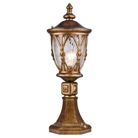 Садово-парковый светильник Maytoni Rua Augusta S103-59-31-R, IP44, 1xE27x60W, медь, матовое золото, прозрачный, металл, стекло