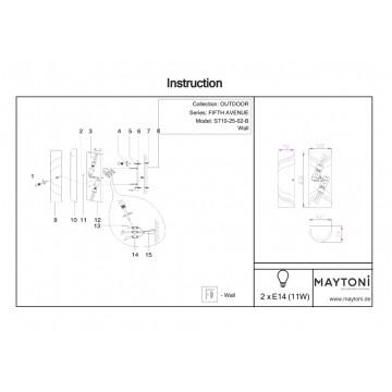 Настенный светильник Maytoni Fifth Avenue S710-25-02-B, IP44, 2xE14x11W, черный, металл, пластик - миниатюра 7