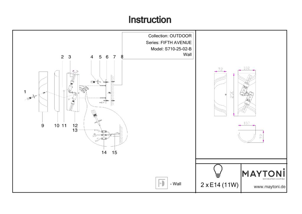 Настенный светильник Maytoni Fifth Avenue S710-25-02-B, IP44, 2xE14x11W, черный, металл, пластик - фото 7
