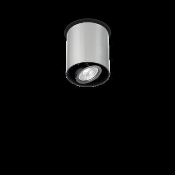 Потолочный светильник Ideal Lux MOOD PL1 SMALL ROUND ALLUMINIO 140865, 1xGU10x28W, алюминий, черный, металл