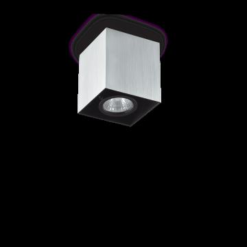 Потолочный светильник Ideal Lux MOOD PL1 D09 SQUARE ALLUMINIO 140926 (MOOD PL1 SMALL SQUARE ALLUMINIO), 1xGU10x28W, алюминий, черный, металл