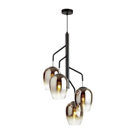 Подвесная люстра Odeon Light Palta 4759/4, 4xE27x60W, черный, дымчатый, металл, стекло