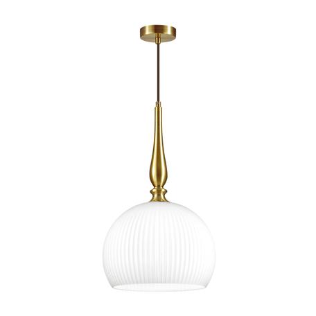 Подвесной светильник Odeon Light Runga 4765/1, 1xE27x60W, бронза, белый, металл, стекло