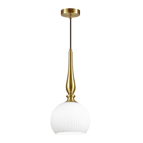 Подвесной светильник Odeon Light Pendant Runga 4767/1, 1xE27x60W, бронза, белый, металл, стекло