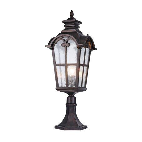 Садово-парковый светильник Favourite Bristol 2036-1T, IP44, 1xE27x60W, коричневый, прозрачный, металл, ковка, металл со стеклом