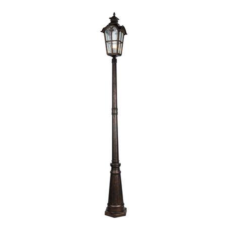 Уличный фонарь Favourite Bristol 2036-1F, IP44, 1xE27x60W, коричневый, прозрачный, металл, ковка, металл со стеклом