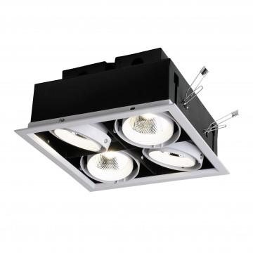 Встраиваемый светодиодный светильник Favourite FlashLED 1985-4C, LED 48W 4000K CRI>80, черно-белый, белый, металл