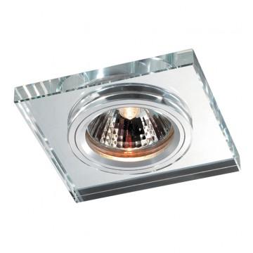 Встраиваемый светильник Novotech Mirror 369753, 1xGU5.3x50W, прозрачный, хром, металл со стеклом/хрусталем