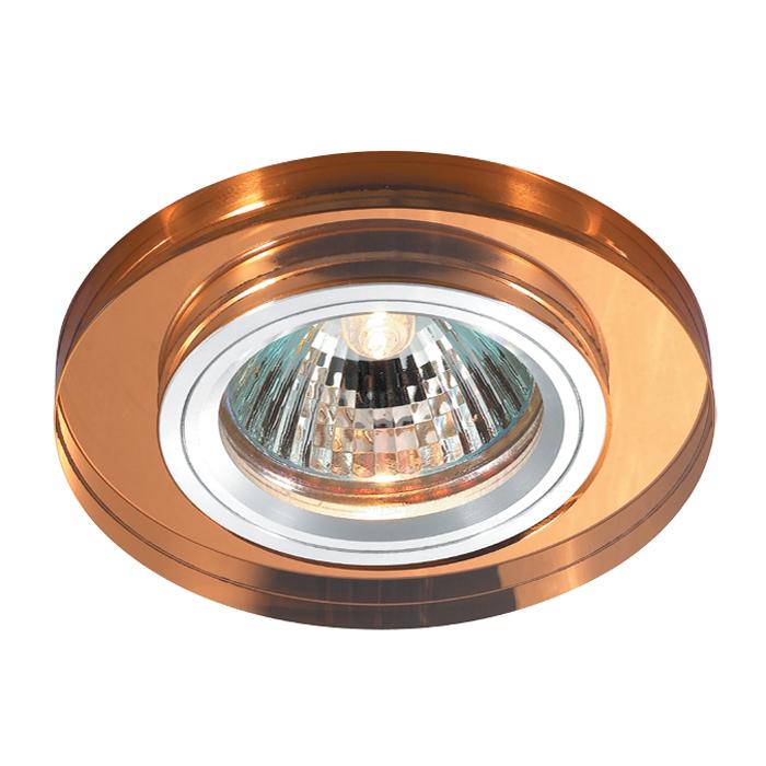 Встраиваемый светильник Novotech Mirror 369757, 1xGU5.3x50W, янтарь, металл со стеклом/хрусталем - фото 1