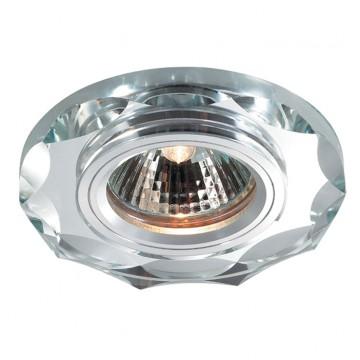 Встраиваемый светильник Novotech Mirror 369762, 1xGU5.3x50W, хром, металл, хрусталь