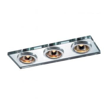 Встраиваемый светильник Novotech Mirror 369766, 3xGU5.3x50W, хром, металл, хрусталь