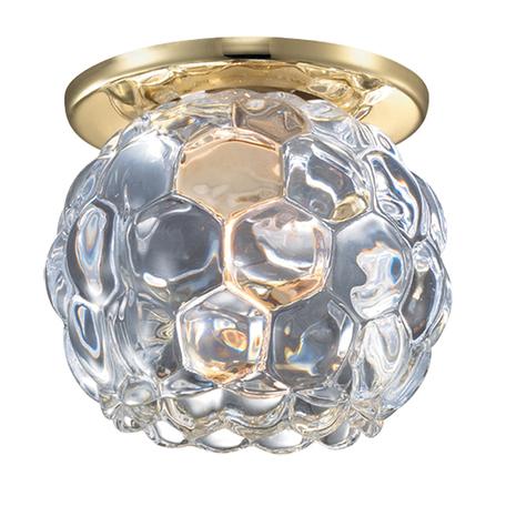 Встраиваемый светильник Novotech Spot Nord 369807, 1xG9x40W, золото, прозрачный, металл, хрусталь