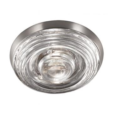Встраиваемый светильник Novotech Aqua 369813, IP65, 1xGU5.3x50W, никель, прозрачный, металл, стекло