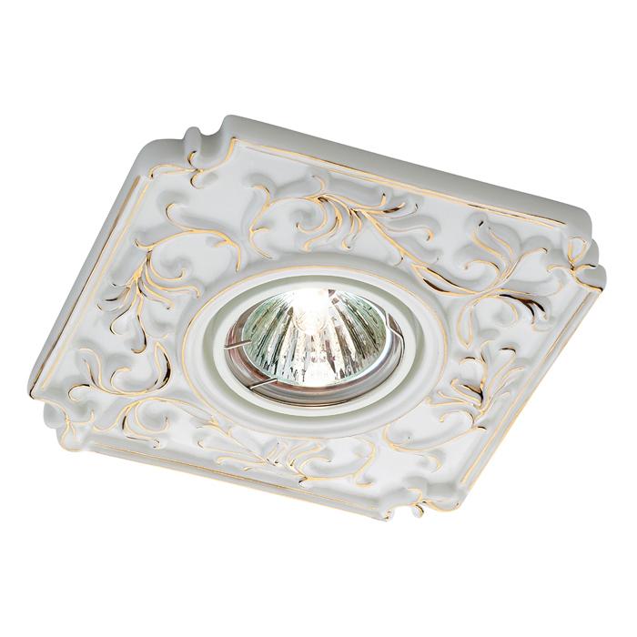 Встраиваемый светильник Novotech Farfor 369866, 1xGU5.3x50W, белый, золото, керамика - фото 1