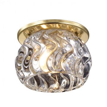 Встраиваемый светильник Novotech Vetro 369918, 1xG9x40W, золото, прозрачный, металл, стекло