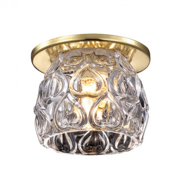 Встраиваемый светильник Novotech Vetro 369920, 1xG9x40W, золото, прозрачный, металл, стекло