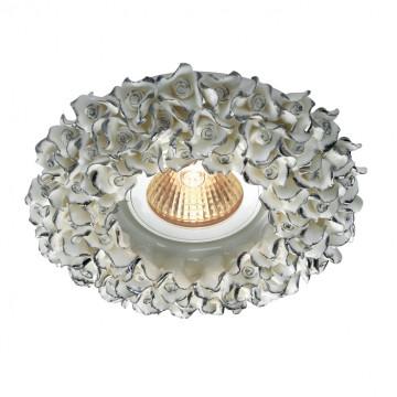 Встраиваемый светильник Novotech Farfor 369950, 1xGU5.3x50W, белый, серебро, керамика