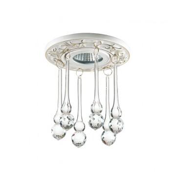 Встраиваемый светильник Novotech Pendant 369959, 1xGU5.3x50W, белый, золото, прозрачный, металл, хрусталь