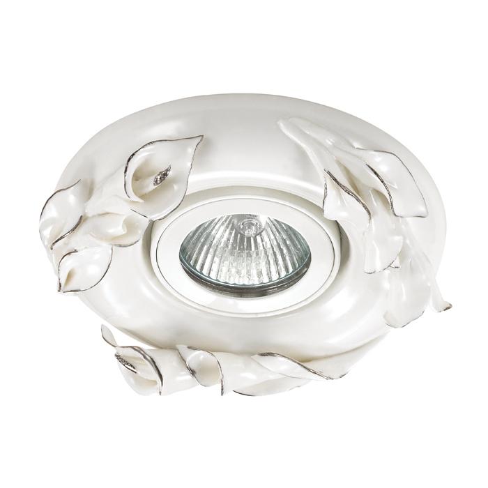 Встраиваемый светильник Novotech Farfor 370038, 1xGU5.3x50W, белый, серебро, керамика - фото 1