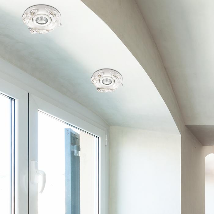 Встраиваемый светильник Novotech Farfor 370038, 1xGU5.3x50W, белый, серебро, керамика - фото 2