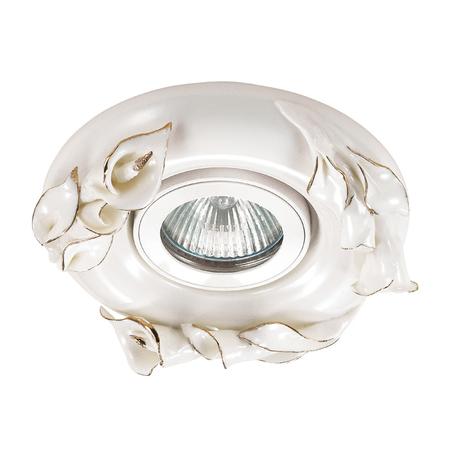 Встраиваемый светильник Novotech Farfor 370039, 1xGU5.3x50W, белый, золото, керамика