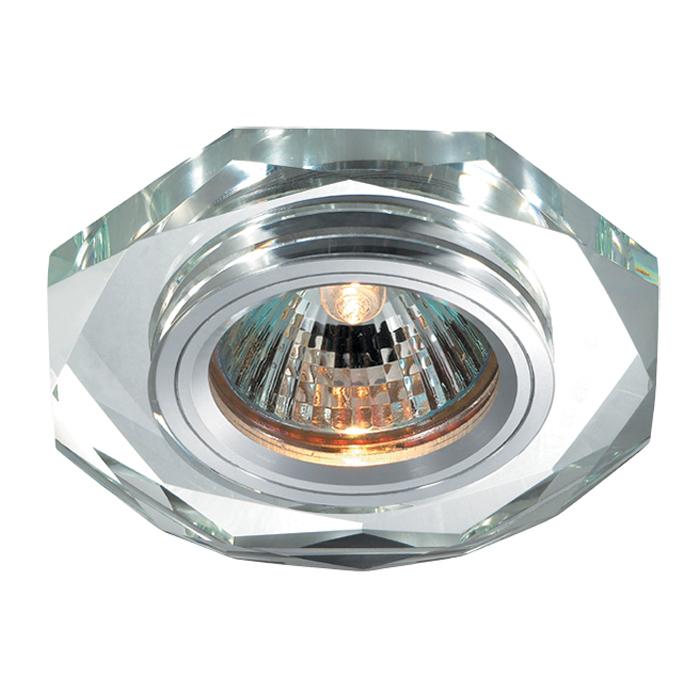 Встраиваемый светильник Novotech Spot Mirror 369759, 1xGU5.3x50W, хром, зеркальный, хрусталь - фото 1