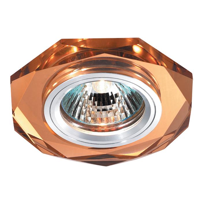 Встраиваемый светильник Novotech Mirror 369760, 1xGU5.3x50W, янтарь, хрусталь - фото 1
