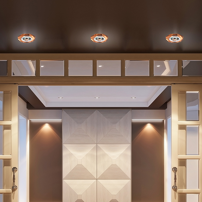 Встраиваемый светильник Novotech Mirror 369760, 1xGU5.3x50W, янтарь, хрусталь - фото 2