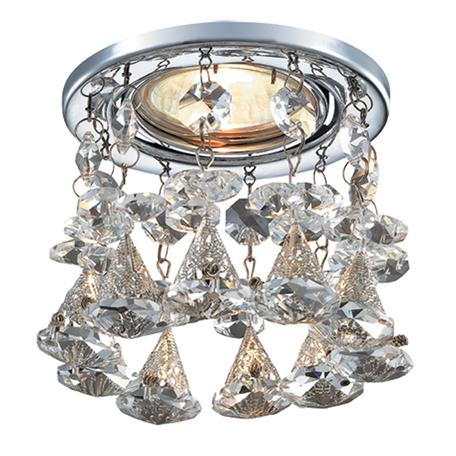 Встраиваемый светильник Novotech Spot Ritz 369791, 1xGU5.3x50W, хром, прозрачный, металл, хрусталь