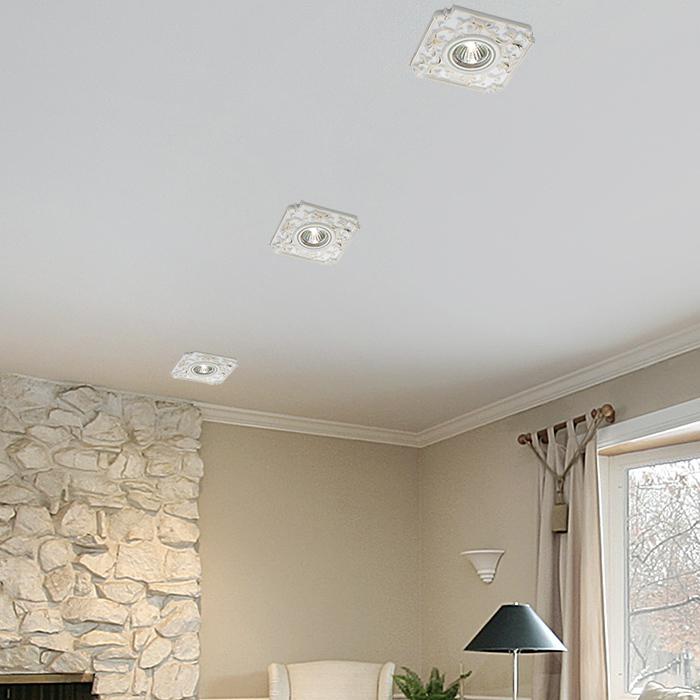Встраиваемый светильник Novotech Farfor 369866, 1xGU5.3x50W, белый, золото, керамика - фото 2