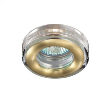 Встраиваемый светильник Novotech Aqua 369881, IP54, 1xGU5.3x50W, матовое золото, прозрачный, хрусталь, стекло