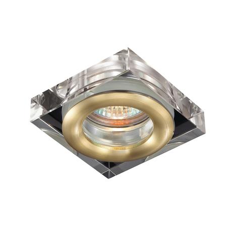 Встраиваемый светильник Novotech Aqua 369882, IP54, 1xGU5.3x50W, матовое золото, прозрачный, хрусталь, стекло