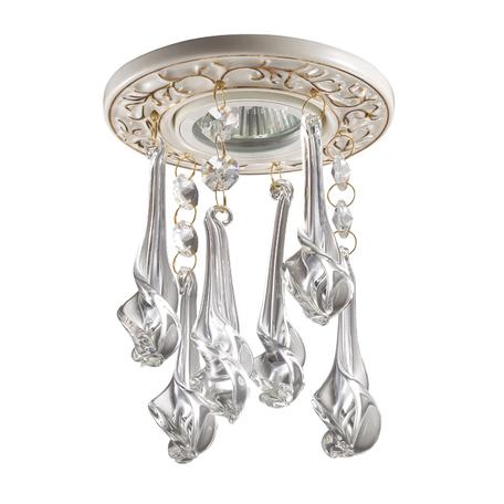 Встраиваемый светильник Novotech Pendant 369961, 1xGU5.3x50W, белый, золото, прозрачный, металл, хрусталь